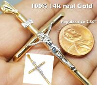 "GOLD cross jesus pendant Inri crucifix 14k real Yellow white necklace 2.50"" Big"
