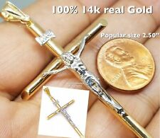 "white 2 tone necklace 3g 2.50"" Big Gold cross jesus pendant 14k real Yellow"