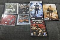 Lot of 7 Windows PC Games- Call of Duty - Brothers in arms - Battlefield 1942