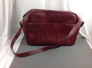 Vintage TROJAN Red Faux Leather Carry On Shoulder OverNight Messenger Vinyl Bag