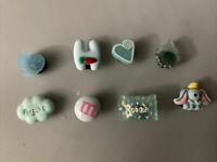 3D Lot Of 8 Blue Shoe Charms, Bracelet & Lace Adaptor Charms,hearts,candy & More