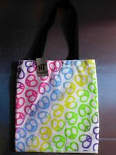 Hot Topic Heart Peace Sign Tote Bag Groovy Cool Retro Purse Multi Color Rainbow