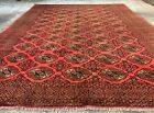 Authentic Hand Knotted Vintage  Afghan Turkmon Sara Wool Area Rug 11 x 9 Ft