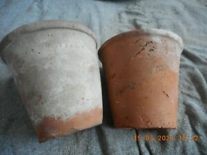 "2 x ANTIQUE HAND THROWN TERRACOTTA CLAY POTS 5.5"" X 5"" CRET & HOMESTEAD,  (121"