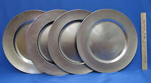 """Charger Plate Decorative Round Silver Tone Plastic Under Chop Plate 13"""" Lot of 4"""
