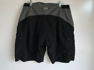 Fox Racing Black & Gray Padded Cycling Mtn Biking Shorts,Elastic Waist Mens XXL