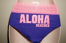 "VICTORIA'S SECRET PINK Geo Lace Trim Hipster Panty ""PURPLE ALOHA BEACHES"" Size L"