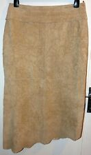 Apanage Beige Suede Asymmetric Pencil Skirt - Size 14