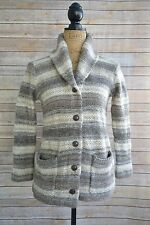Denim & Supply RALPH LAUREN Taupe IVORY striped shawl collar CARDIGAN size M