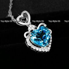 Silver 925 Blue Heart Necklace Crystal Diamond Pendant Xmas Gift for Her Mum TU1