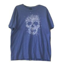 Lucky Brand Shirt XL Mens T Shirt Graphic Gray Blue Bird Skull