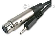 2m 2 metros XLR 3 Pin Hembra Enchufe a 3.5mm estéreo macho jack cable negro