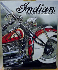 INDIAN AMERICA'S PIONEER MOTORCYCLE, METAL SIGN,  APO AND FPO WELCOME, ADULT