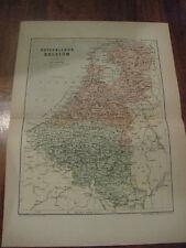 Nice Antique Map Netherlands & Belgium c. 1895 Johnston