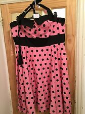Plus Size, 1950's Halter Neck Polkadot Dress Pink&Black Size 4XL Hellbunny Vixen