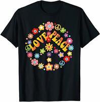 PEACE SIGN LOVE T Shirt 60s 70s Tie Dye Hippie Costume Shirt Vintage Men Gift...