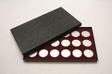 BOX FOR COINS IN AIRTITE CAPSULE HOLDER for SILVER DOLLARS, 18 H BURGUNDY FELT