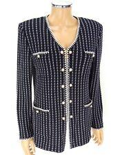 ST JOHN COLLECTION Zipper Jacket SIZE 8 Black White Pearl Buttons Santana Knits