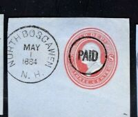 US PSE Piece w/ENCIRCLED 'PAID' Fancy Cancel & Validating NORTH BOSCAWEN NH CDS