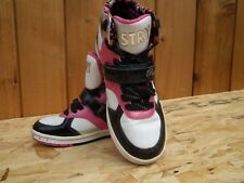 PASTRY Girls Leather Black/Pink/White Velcro+Lace Hi trainers size UK 3.5