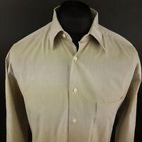 HUGO BOSS Mens Vintage Shirt 41 (LARGE) Long Sleeve Beige Classic Fit Cotton