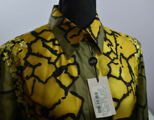VTG New Flaws Gianni Versace Couture Sz 44 Silk Blouse Multicolor Italy Atelier