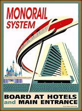 Orlando Florida Walt Disney World Monorail U.S. Travel Advertisement Poster