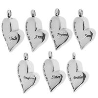 Forever in My Heart Family Cremation Ashes Urn Jewelry Pendant Stainless Steel
