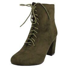 Ladies Spot on BOOTS F50854 Khaki UK 4 Standard