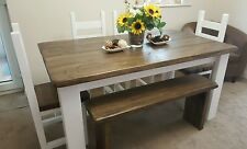 Shabby Chic Rustic Farm House Dining Table, 4 Chairs And Bench Set