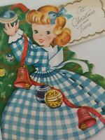 50s Vtg GINGHAM Dress GIRLS 3 Full Images Decorate Tree CHRISTMAS GREETING CARD