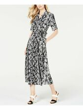 CALVIN KLEIN $139 Womens New Black Printed Short Sleeve Faux Wrap Dress 10 B+B