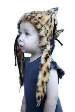 Kids Pixie Elfin Hat Faux Fur Fluffy Leopard Pointy Fairy Childrens Boy Girl