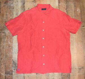Polo Ralph Lauren Men Large S/S Button Front Linen Silk Blend Shirt Red EUC B76