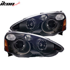 Fits 02-04 Acura RSX Projector Headlights Halo Black Clear & Led