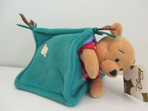"""Disney Store - Winnie the Pooh Mini Bean Bag 8"""" - Retired - Camping with tent"""