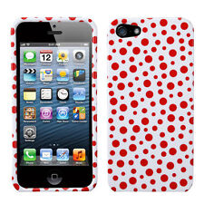 For Apple iPhone 5 5S SE HARD Protector Case Snap On Phone Cover Red Mixed Dots