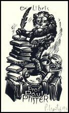 Upitis Peteris 1964 Exlibris X2 Bookplate Lion Leo Löwe Cat Animals n18