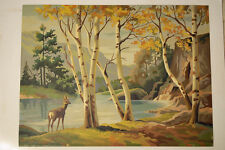 Vintage paint by number lost deer in the fall woods 18x24