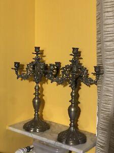 coppia di candelieri In Bronzi Antico Fine 800