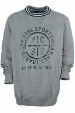 Kitaro Sweatshirt Sweat Shirt Herren Rundhals Baumwolle Grau Extra Lang Tall 4XT