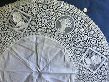 Handmade FIGURAL CANTU BOBBIN LACE  SMALL ROUND TABLECLOTH