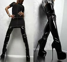 Ladies Shiny Black Patent Sexy Over Knee Thigh High Heel Platform Boots Stage US
