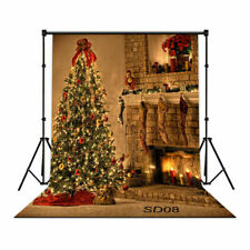 5X7FT Christmas Tree Fireplace Backdrop Background Photography Studio Props
