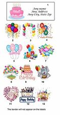 Personalized Return Address Labels Birthday Balloons Buy 3 get 1 free (b7)