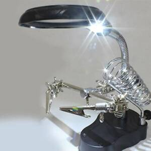 LED Lamp SOLDERING IRON STAND HELPING HANDS MAGNIFYING GLASS MAGNIFIER