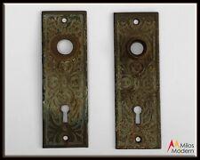 Vintage 1800s Pair 2 Antique Door Plates Steel Metal Plate Scandinavian Ornate