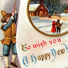 a2 Postcard 1915 Embossed Gold Happy New Year / bells 029a