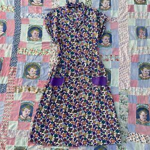 Vintage 1930s colorful floral print cotton sundress button down hip pockets