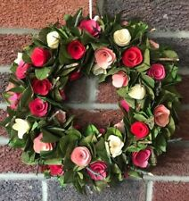 FLORAL WREATH PINK ROSE LARGE WOODEN WEDDING GIFT HOME ACCESSORY 34CM